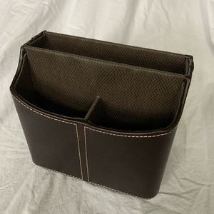 Leather bound desk caddy with rotating base